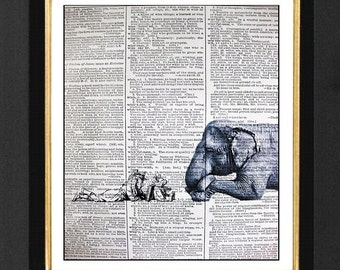 "Elephant Print ""The Story Teller""Girl, Elephant prints Mixed Media print on 8x10 Vintage Dictionary page, Dictionary art, Dictionary print"
