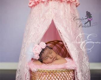 Pink Newborn Canopy - Lace Newborn Canopy - Satin Newborn Canopy - Pink Satin Canopy - Pink Lace Canopy - Newborn Baby Canopy Photo Prop