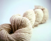 Linen & cotton laceweight yarn, cream, reclaimed, 80g