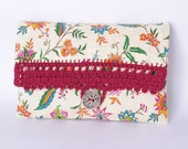 Crochet Bag Floral Clutch Cosmetic Pouch French Provence Country Bag Lace Red