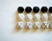 Geometric White& Black Wood Beads 20mm Big Hole, Geometric Jewelry