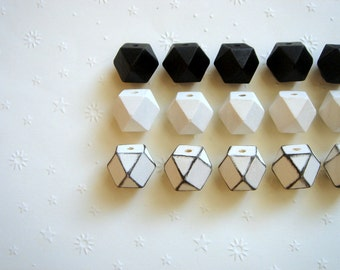 Geometric White& Black Wood Beads 20mm Big Hole, Geometric Jewelry