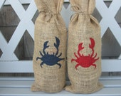 Burlap wine bag with hand stenciled crab - red or blue