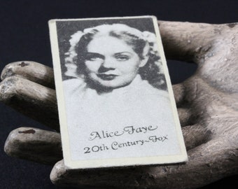 1930's Hollywood Starlet Alice Faye Engrav-o-tints Black and White Weight Machine Movie Card
