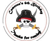"Personalized Pirate 2.5"" round stickers - Pirate Birthday favor - sheet of 12"