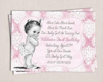 Vintage Shabby Chic Baby Girl Birthday Party Printable Invitation Digital File