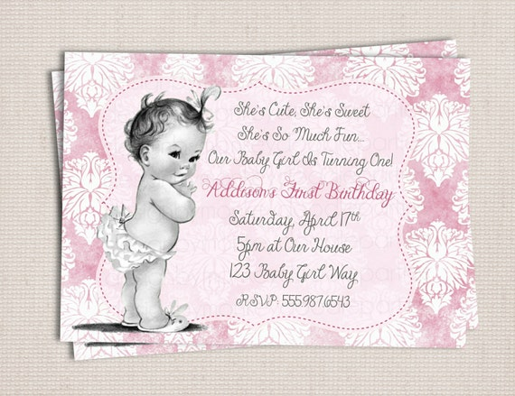 Items similar to Vintage Shabby Chic Baby Girl Birthday Party – Baby Girl Birthday Party Invitations