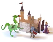 Kingdom Kit - self assembly paper toy construction kit princess knight dragon fairtale middle ages castle kids ages 4 yrs - 9 yrs playful
