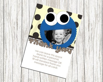 Cookie Monster Birthday Thank You Card - With Photo