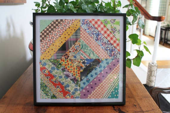 Mid Century geometric vintage quilt square framed 1950 California cotton mixed colors