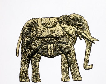 Elephant in Gold - limited edition screenprint