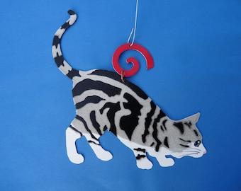 Metal Grey American Shorthair Tiger Cat Ornament