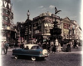 Piccadilly Circus in London, Early 60s Vintage Photo  10 x 10 Print