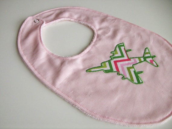 AV-8B Harrier Jet Airplane Applique in Pink and Green Chevron Print on Pink Cotton Bib
