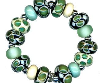 Handmade USA Lampwork Glass Beads Copperblue Mint Ivory Black Bead Set
