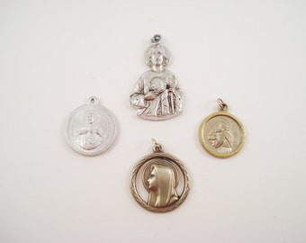 Vintage Catholic Medals, Religious Medals, St Joseph Virgin Mary Our Lady of Mt Carmel Our Lady of Lourdes Sacred Heart