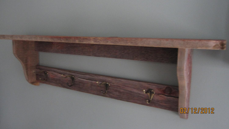 barnwood shelf coat hat rack. Black Bedroom Furniture Sets. Home Design Ideas