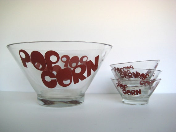 Retro red popcorn bowls, glass serving bowls