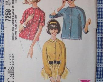 Vintage 1964 McCall's Misses / Junior Gidget Blouse Pattern Sz  12