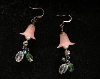 Rose Peach Lucite Lily Dangle Earring with Silver Pearls and Crystal Drops