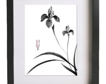 "Original Japanese art ""Serene irises"" - sumi-e drawing - wash ink - Wall decor - painting from AnimaAllegra - bamboo brash & rice paper"