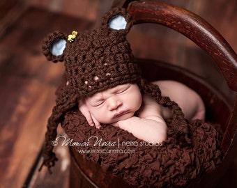 Newborn Bear Hat//Newborn Photo Prop//Baby Bear Hat//Newborn Boy Hat//Baby Shower Gift//Crochet Baby Hat//Crocheted Beanie//Newborn Hat