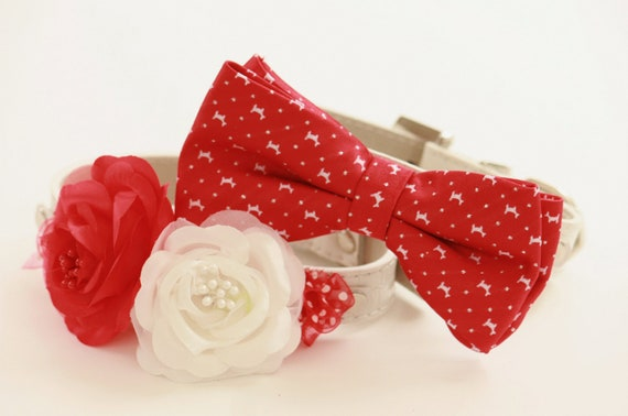 Red Wedding Dog Collars Bridesmaid & Best Man By LADogStore