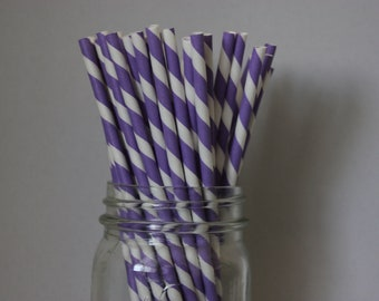 25 Lavender Striped Paper Straws and Printable Flag Toppers