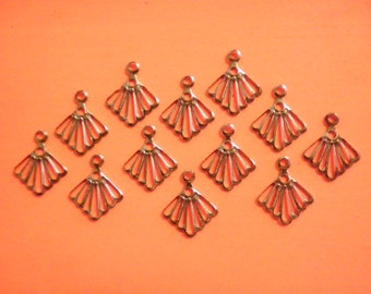 12 Vintage Steel 19mm Filligre Dangles