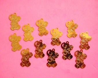 12 Vintage Goldplated 18mm Elephant Charms