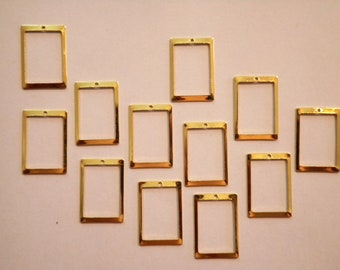 12 Vintage Goldplated 18x13mm Rectangles with Hole