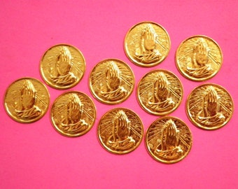 10 Vintage Goldplated 19mm Praying Hands Coins