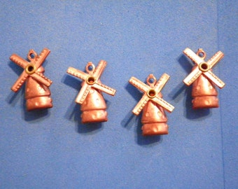 4 Vintage Coppercoated 20mm Moveable Windmill Charms