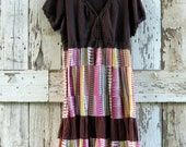 Brown Is Not Boring Boho Dress/upcycled happy hippie dress/ eco friendly brown dress