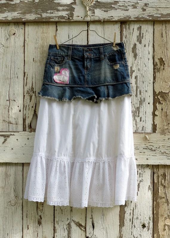 Don't Tear My Heart, Cowboy Upcycled Skirt/ eco friendly denim eyelet skirt/rustic romantic skirt
