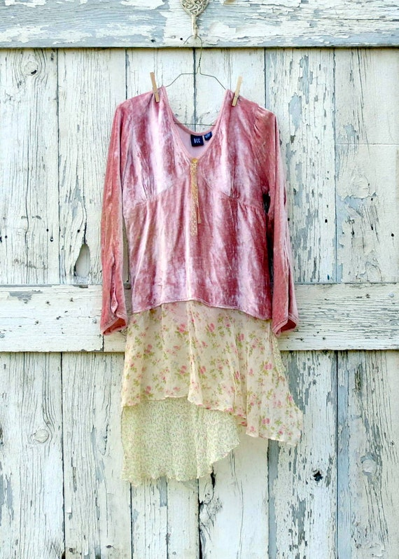 Pink Pixie Party Tunic upcycled velvet chiffon hippie top eco friendly pink boho mini dress