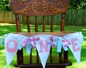 HAPPY BIRTHDAY High Chair Girl Banner/Bunting/Photo Prop