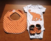 Gender Neutral Baby Infant Onesie (Bodysuit), Bib, and Booties Set -  Orange and Gray Elephant Theme