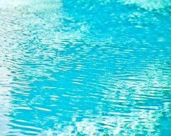 Refresh - 8x8 Swimming pool minimalist bright blue photography print turquoise aqua photo photograph home nursery decor wall art summer fun