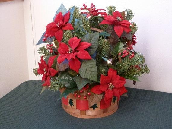 Christmas holiday basket centerpiece poinsettias lights