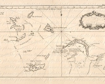 Map of The Bahamas From The 1700s 155 Ancient  Digital Image Download Bahamas Island Tropical Grand Andros Nassau Harbour Exumas