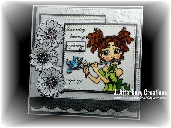 OOAK---Exploring-Inspiring Flowers Glittered Card + Matching Envelope Box