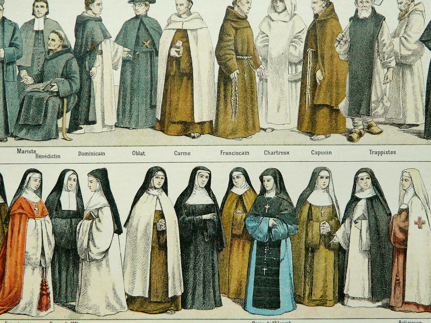 a nun of a different cloth In some cases the novice's habit will be somewhat different from the customary habit: for instance,  the cloth is embroidered with a cross and the instruments of the passion the wooden.