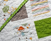 LIMITED TIME SALE - Modern baby quilt - Kitty Garden Squares