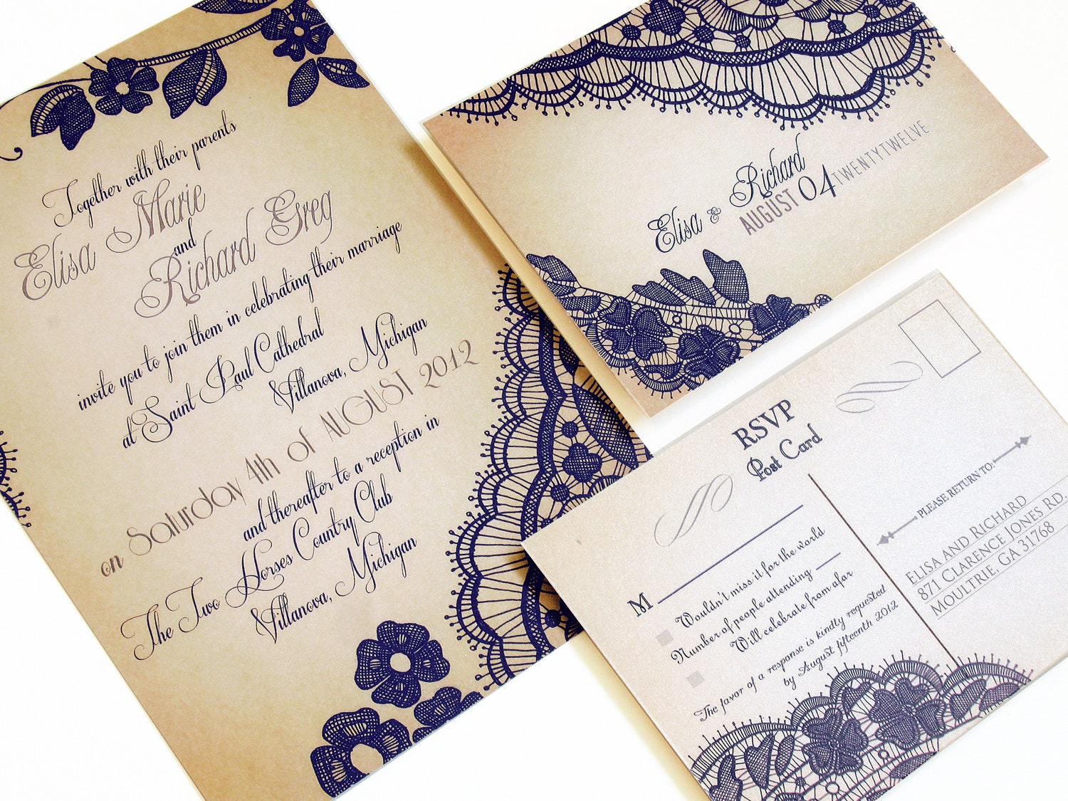 Elegant Lace Wedding Invitations Our Signature Bellevue
