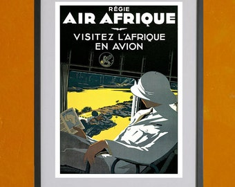 Regie Air Afrique Airline Poster, 1936 - 8.5x11 Poster Print - also available in 13x19 - see listing details