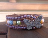"Leather Butterfly Bracelet Beaded Leather Cuff ""Butterfly Kisses"" Bracelet Shabby Boho Style Summer Beach Chic"