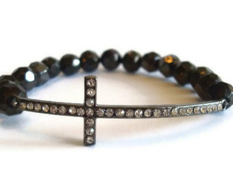 Sideways Cross Gunmetal Disco Ball Beaded Stretch Bracelet