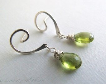 Peridot Earrings - silver or gold August birthstone swirl post dangle drop apple lime green Eco-friendly bridal anniversary Gift