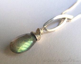 Labradorite Pendant - Sterling Silver Gold-Filled necklace Dangle natural original jewelry design Gift Add-A-Dangle bail